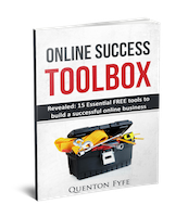 3D Cover of Online Success Toolbox ebook, showing a toolkit overflowing with tools