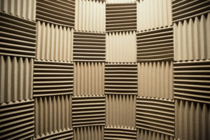 Acoustic tiles in checkerboard pattern