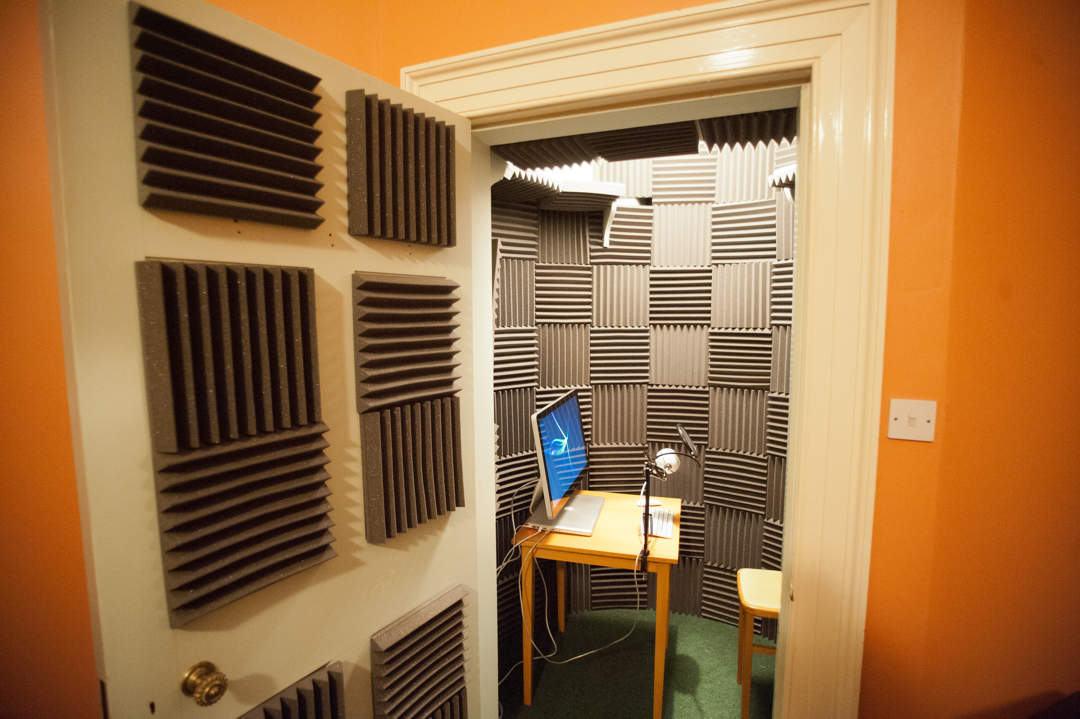 Finished vocal booth seen through open door.