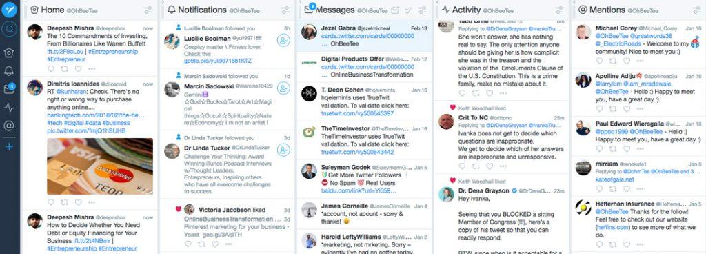 Screenshot of TweetDeck showing 5 columns of tweets, notifications and messages