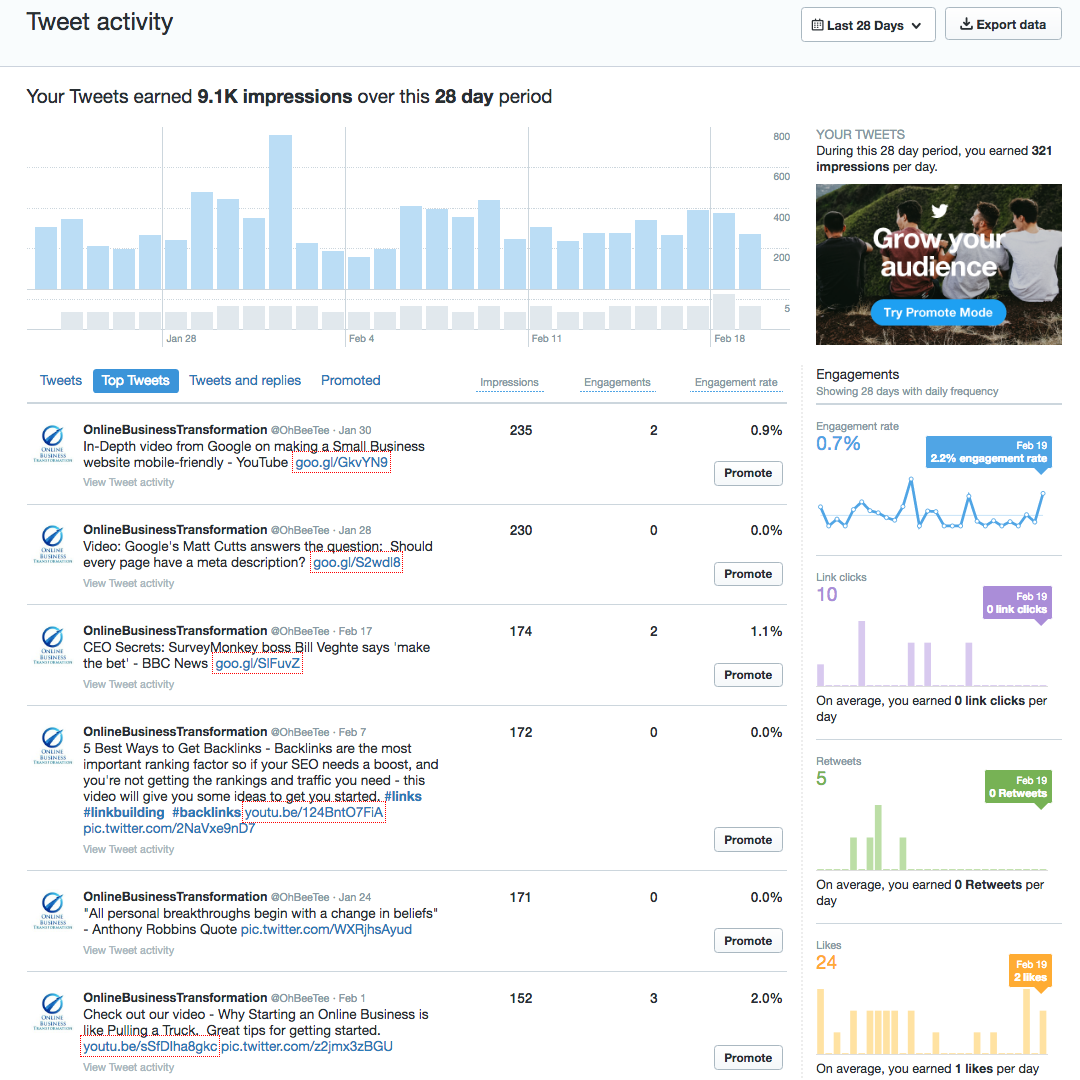 Screenshot of Twitter Analytics, showing graph of impressions at the top, Top Tweets listed down left hand side, and various coloured graphs down the right hand side.
