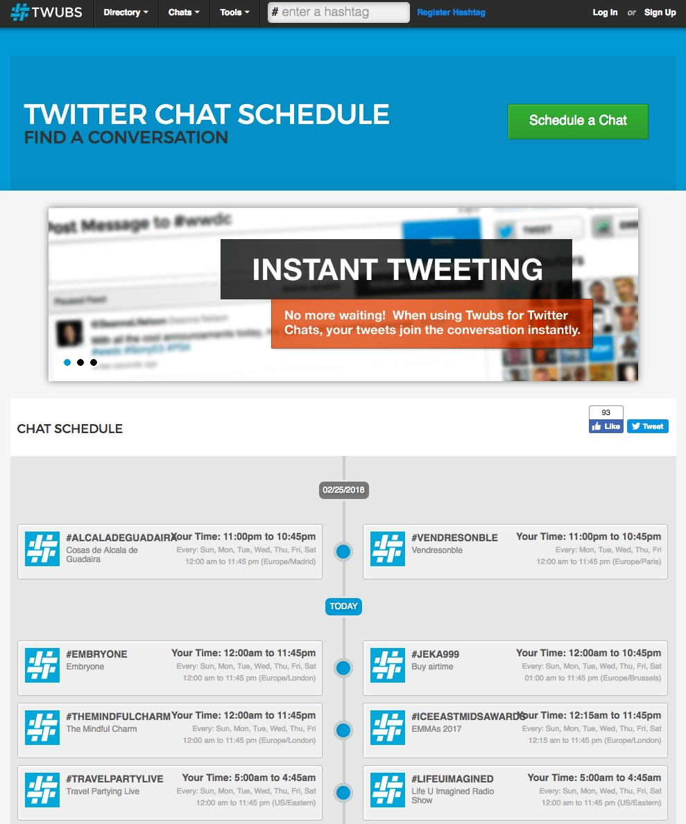 Screenshot of Twubs showing scheduled Twitter chats