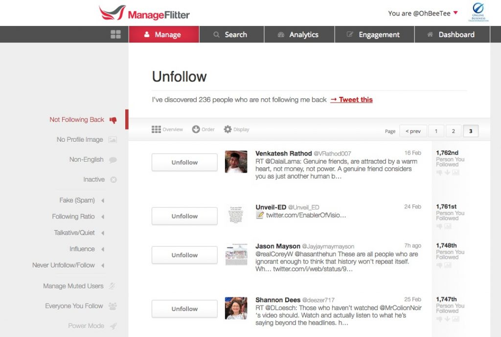 Screenshot of ManageFlitter showing accounts that don't follow back, with a button to unfollow them