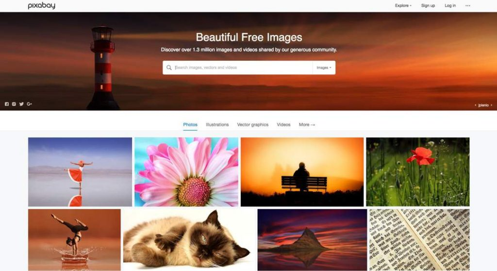 Screenshot of Pixabay website with search bar at top of page and thumbnail images underneath