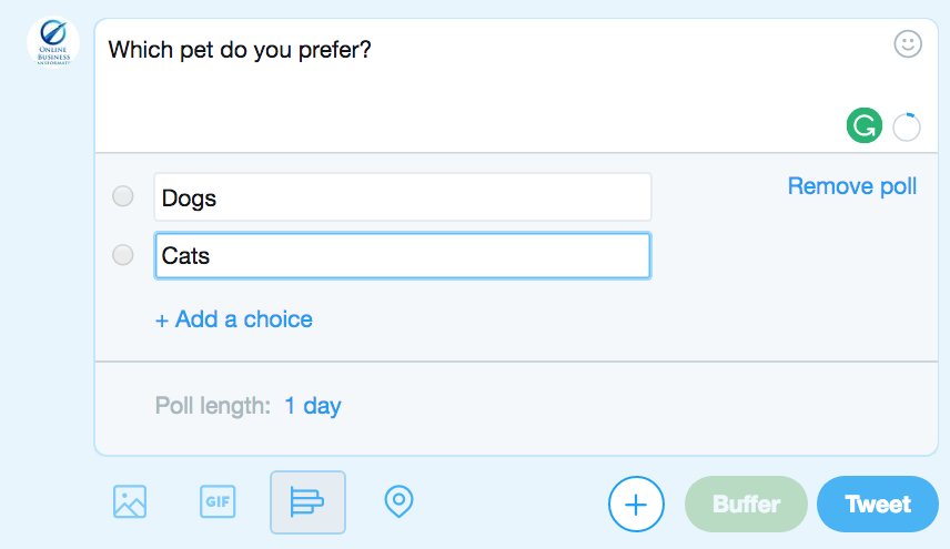 Screenshot showing Twitter poll dialog