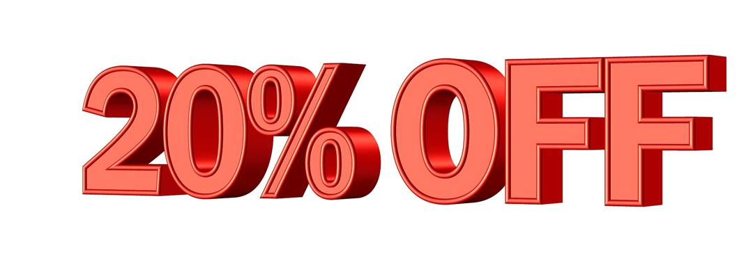 Large 3D red text saying 20% OFF