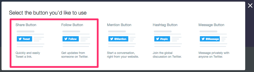 Screenshot of Twitters menu for choosing buttons to embed with share and follow highlighted
