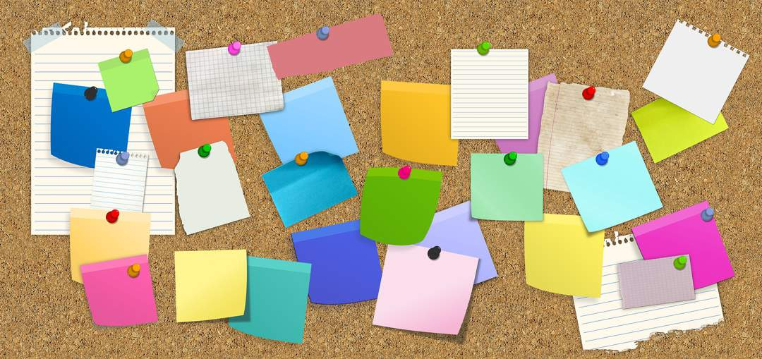 Drawing of lots of multi-coloured sticky notes pinned to a cork board