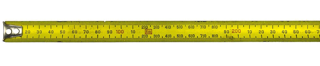 Yellow tape measure on a white background