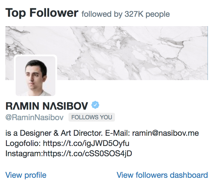 Screenshot of Top Follower section of Twitter Analytics
