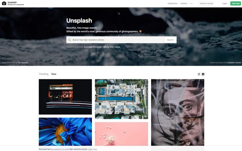 Screenshot of Unsplash website with search box at top, and thumbnail images below