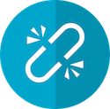 Broken Link Building Mastery Logo showing a white broken chain link on a two-tone blue circle