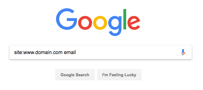 "Screenshot of Google with the search ""site:www.domain.com email"" in the search box"