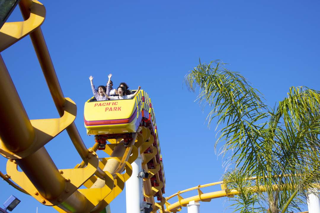 Looking up at people riding in a yellow roller-coaster on a yellow track against a deep blue sky with a palm tree on the right.
