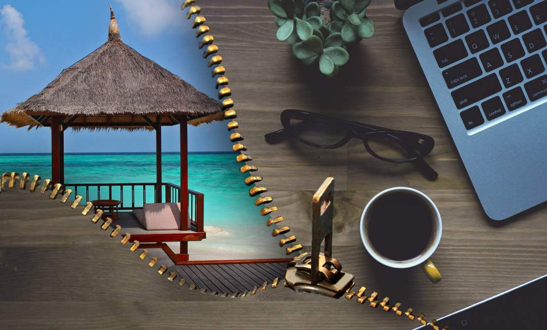Photo of a desktop with a laptop, glasses and a cup of coffee on the right - the photo unzips down the middle to reveal a tahiti beach house against turquoise sea on the left.