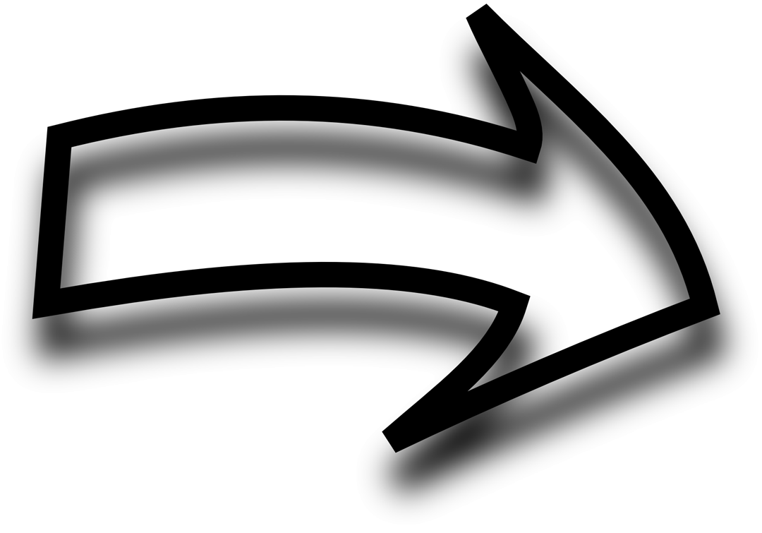 A black right arrow casting a shadow on the white background.