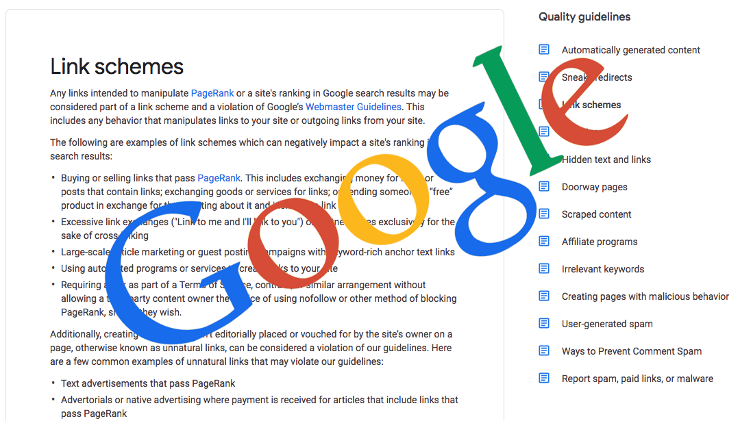 Extract from Link Schemes section of Google Quality Guidelines text with Google logo at 45 degree angle overlaying the text.