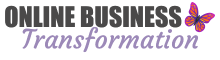 Logo with text Online Business in black caps and Transformation in purple script. There's a purple and orange butterfly on the right hand side.
